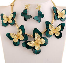 Gold Plated Big Butterfly Bib statement Necklace Sets Wedding Jewelry