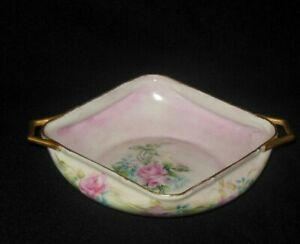 UNO FAVORITE BAVARIA HAND PAINTED SUGAR BOWL PINK ROSES BLUE FORGET ME KNOT 1912