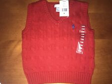 NWT Infant Boys RALPH LAUREN Sleeveless Red Cable Knit Sweater Vest SZ 18 M