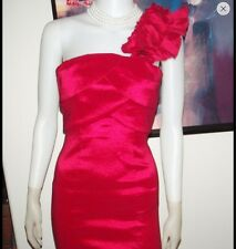 RED RUFFLE ONE SHOULDER WIGGLE DRESS BY SNAP STUNNING SIZE 3-XS