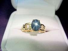 ROYAL BLUE STAR SAPPHIRE 1.48 CTS VINTAGE 14K GOLD RING