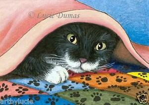 ACEO LE art print Cat 286 tuxedo from original painting by L.Dumas