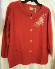 "CLASSIC ELEMENTS ""CORAL""  LINEN FLORAL EMBROIDERED JACKET  NEW/NEVER WORN NO TAG"