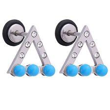 Earring Stud Jeweled Triangle Aqua Beads18G Screw Back Ear Piercing