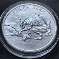 Chupacabra 1 oz 999 Silver Round American Folklore High Relief Bigfoot Goat Suck