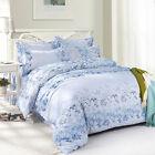 Blue Flowers Single Double Queen King Size Bed Set Pillowcases Quilt Duvet Cover