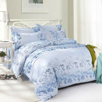 Blue Flowers Single Double Queen King Size Bed Set Pillowcases Quilt Duvet Cover