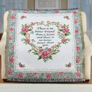 SISTER IS A FRIEND FLORAL HEART SHAPED THROW WITH FRINGE BORDER