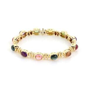 Estate 24 Carat Cabochon Gems 14k Yellow Gold Oval Link Bracelet