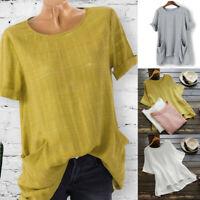 Women  Plus Size Short Sleeve Cotton Linen Loose Casual T-Shirt Blouse Tops Tee