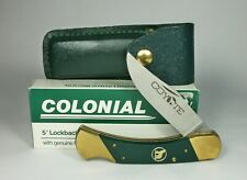 "w Nos Boxed Colonial Coyote 5"" Lockback Knife Cy15 w/Green Leather Sheath"