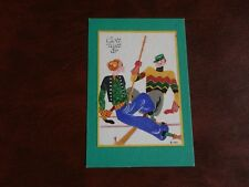 ORIGINAL BIRGER SIGNED ART DECO GLAMOUR SPORT POSTCARD - COUPLE SKIING.