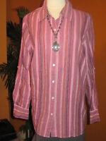KATE HILL NWT 1X $80 women's pink mauve striped linen cotton shirt blouse top