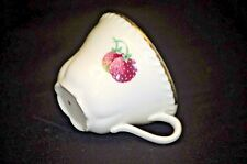 Old Vintage Coffee Tea Cup w Red Strawberries & Gold Trim Marked 3 on Bottom