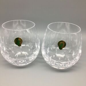 x2 Waterford Crystal ENIS Light Red Stemless Wine Glass Set 12oz NEW [more]