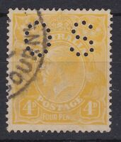 G624) Australia 1916 KGV 4d Lemon-yellow punctured 'OS' ACSC 110Cb Fine used