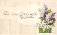 BG3963 geburtstag birthday flower lilly embossed  germany  greetings