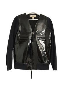 MARNI H&M BLACK PATENT LEATHER NAVY BLUE SLEEVE BOMER JACKET UK 8 EU 36