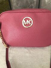 8821ef15c0b8 NWT MICHAEL KORS Fulton LG EW Crossbody Bag Purse Pink Tulip Leather Gold!