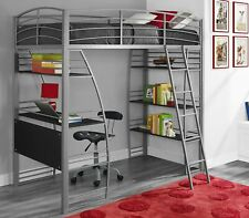 Loft Bunk Bed Over Desk and Bookcase with Metal Frame, Twin Gray