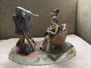 CAPODIMONTE PORCELAIN FIGURINE OLD TIME PHOTOGRAPHER, SIGNED