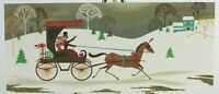 BROOKLINE Horse and 8uggy Snowy Scene w/ Gold Detail Christmas Used Card 1964