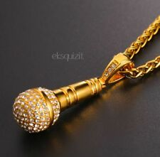 24k GOLD PLATED MICROPHONE PENDANT NECKLACE - BLING HIP-HOP MIC CHARM - UNISEX