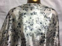 *NEW*L/Weight Liquid Satin Beige/Black Floral Print  Dress/Craft Fabric*FREE P&P