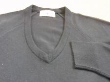 "DARK BLUE BLACK FINE KNIT  V NECK JUMPER  40"" CHEST"