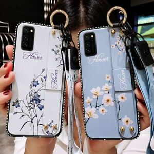 Luxury Floral Flower Phone Case With Wrist Strap Lanyard For Samsung S10 S20 S21