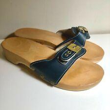 Euc Vtg 70'S-80'S Dr.Scholl'S Original Blue Leather Exercise Sandal Wood Slide*8