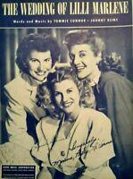 1949 Andrews Sisters Photo The Wedding Of Lilli Marlene Vintage Sheet Music
