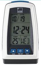 Lewis N Clark Digital Travel Alarm Clock w/ Bright LED Flashlight - White - NEW