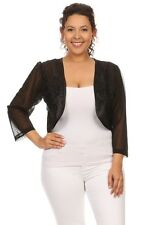 Plus size solid black sheer long sleeve relaxed fit open front cropped *New *XL