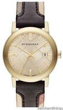 New Burberry Gold Plated Haymarket Chocolate Leather Strap Ladies Watch BU9032