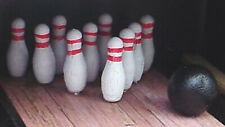 Bowling Pin Miniatures (10) w Ball 1/24 Scale G Scale Diorama Accessory Items