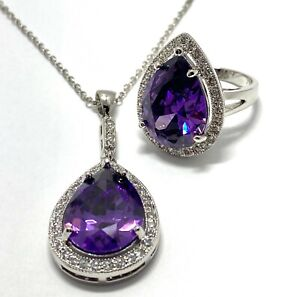 .925 Sterling Silver 19.75ct Amethyst, Diamonique Diamond, Set of Ring, Necklace