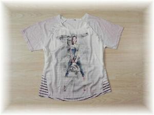 hübsches Shirt im Materialmix mit Strass * Gr. 40