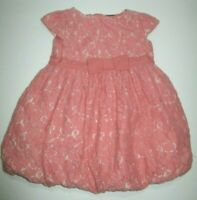 TODDLER GIRLS BABY GAP PEACHY PINK LACE BOW BUBBLE PARTY DRESS SIZE 12-18 MONTHS