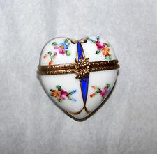 Limoges France Box Rochard Floral Ribbon Heart Hand Painted Petites Fleurs