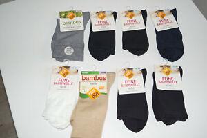 8 Paar Damen Socken  Gr. 39/42 Weiss /Schwarz/Beige/Grau Feine Baumwolle
