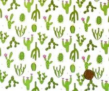 DESERT CACTUS GREEN ON WHITE BY LEWIS & IRENE - COTTON FABRIC FQ'S