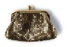 Vintage Gold Mesh Glomesh Coin Purse Wallet Kiss Clasp Lock Closure