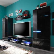 Wohnwand Media Light Anbauwand Schrankwand in schwarz mit Beleuchtung Wohnzimmer