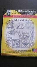 Aunt Martha's Hot Iron Transfer #4030 Patchwork Apples Embroidery  New
