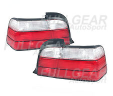 CHROME w/ RED CLEAR LENS TAIL LIGHT SET FOR BMW E36 3-SERIES 2DR COUPE 1992-1999