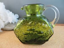"Vintage Mid Century Modern Olive Green Bumpy Glass Small 4"" Creamer Pitcher"