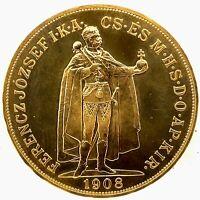 1908 HUNGARY GOLD 100 KORONA BU -Restrike- Km #491