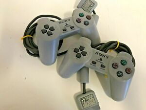 2 x Original Official Sony Grey Playstation 1 PS1 Controllers TESTED