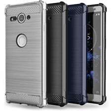 Sony Xperia XZ2 Compact Carbon Fibre TPU Silicone Gel Case Protection Cover UK
